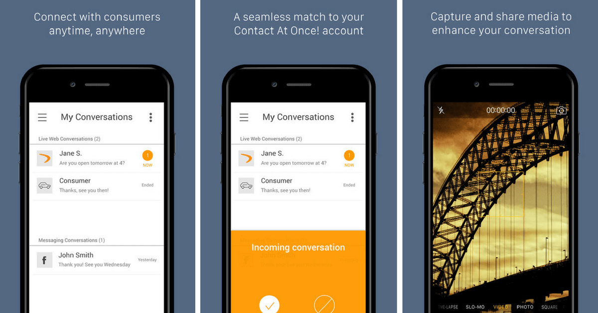 Contact At Once! new mobile chat app screen examples